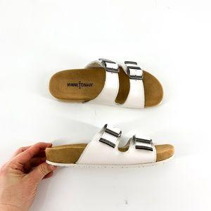 nib | Minnetonka White Gypsy Two Buckle Sandals